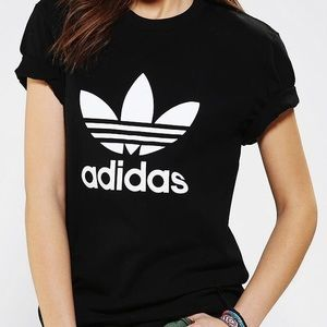 Adidas // Black Graphic Logo Tee / Women's Small